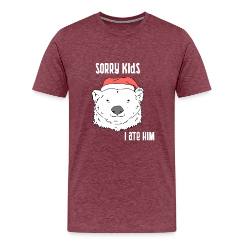 Funny Christmas gift. Bear ate Santa Claus joke. - Men's Premium T-Shirt