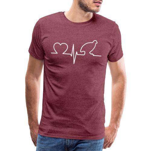 Heartbeat Wachtel Quail Design Geschenkidee - Männer Premium T-Shirt
