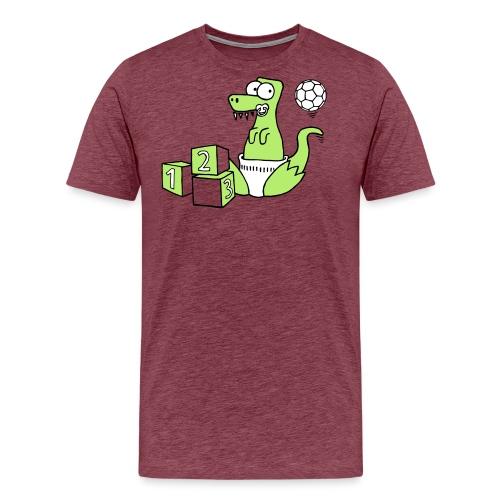 Baby T-Rex Dino mit Ball und Würfel - Männer Premium T-Shirt