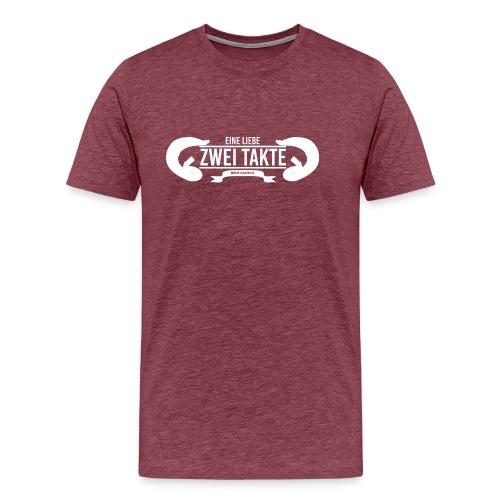 Eine Liebe Zwei Takte Hoodie weißes kleines Log - Männer Premium T-Shirt
