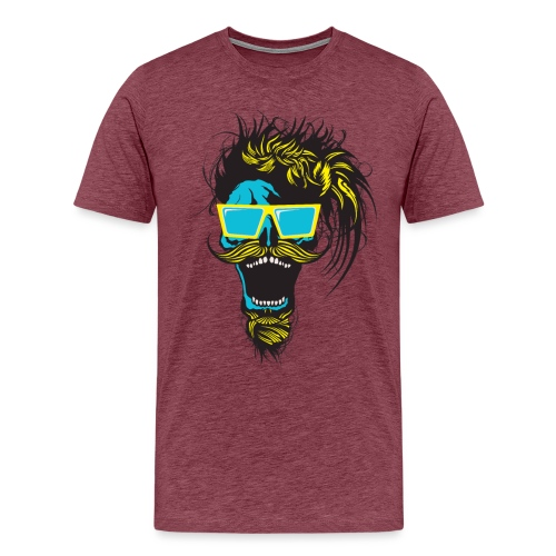 tete de mort hipster crane skull moustache barbe b - T-shirt Premium Homme