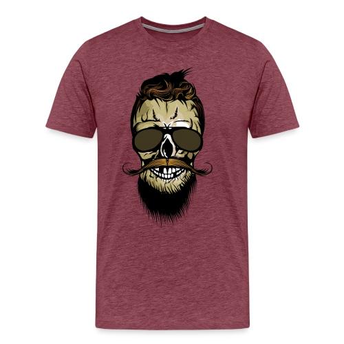 tete de mort hipster barbu barbe crane lunette de - T-shirt Premium Homme