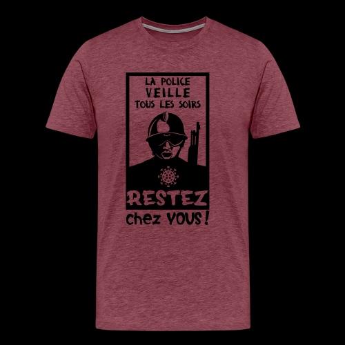 Couvre-feu - La Police Veille.. (Motif N°3) - T-shirt Premium Homme