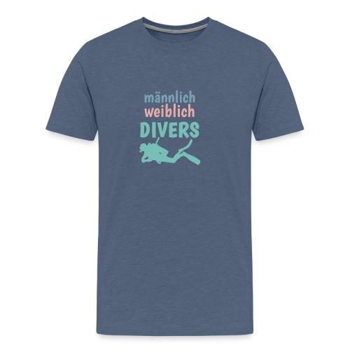 m/w/d: männlich weiblich DIVERS! Shirt für Taucher - Männer Premium T-Shirt