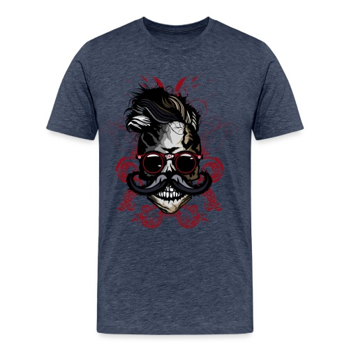 tete de mort hipster fioriture crane skull moustac - T-shirt Premium Homme