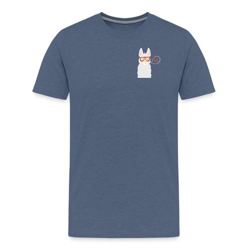 Llama with red glasses (white) - Herre premium T-shirt