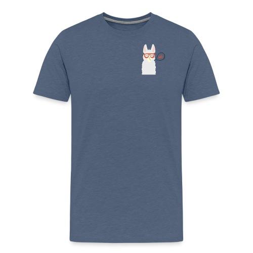 Llama with red glasses (black) - Herre premium T-shirt