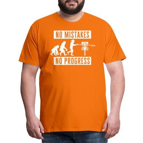 Disc golf - No mistakes, no progress - White - Miesten premium t-paita