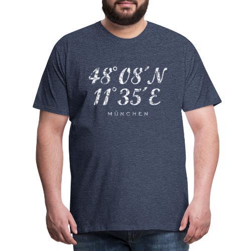 München Koordinaten (Vintage Weiß) - Männer Premium T-Shirt