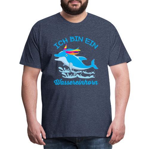 Wassereinhorn Delphin schwimmt im Meer mit Horn - Männer Premium T-Shirt