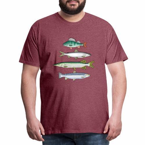 FOUR FISH - Ahven, siika, hauki ja taimen tuotteet - Miesten premium t-paita
