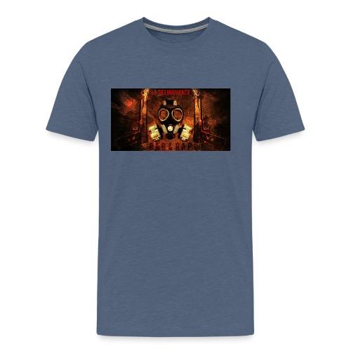 La Delinquance  Gun Masque A Gaz  Fond Flamme - T-shirt Premium Homme