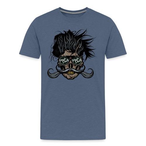 hipster skull tete de mort crane barbu moustache - T-shirt Premium Homme