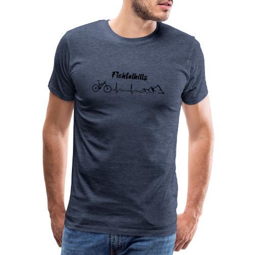 Fichtelhills Heartbeat Mountainlove - Männer Premium T-Shirt