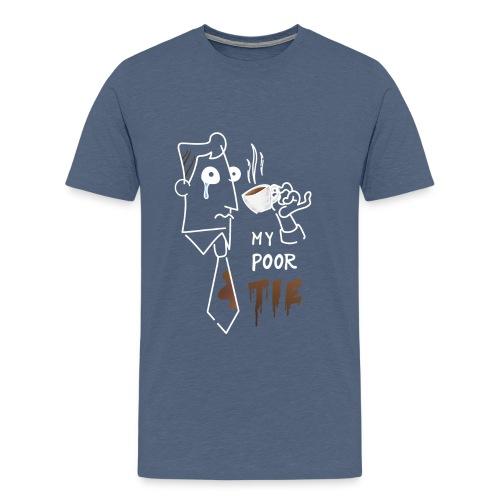 Povera cravatta - caffè comico fumetto bianco - Maglietta Premium da uomo