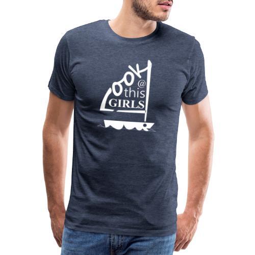 AndriesBik look thisGIRLS shirt witteletters - Mannen Premium T-shirt