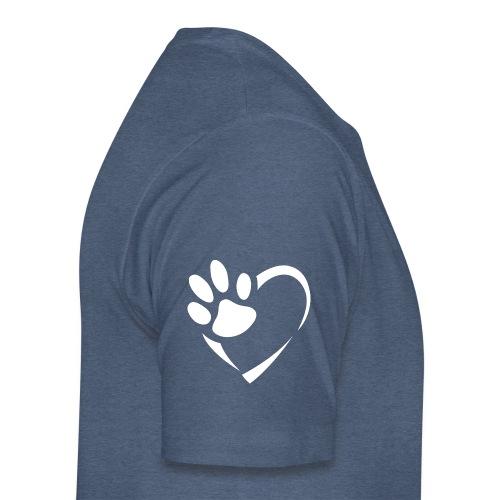 Pfote im Herz (weiß) - Männer Premium T-Shirt