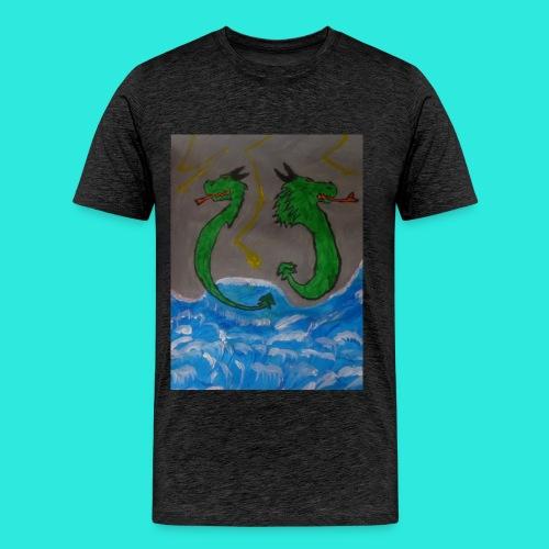 Waterdragons_in_the_thunder- - Mannen Premium T-shirt