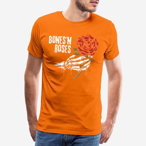 Schädelknochen Rosen - Männer Premium T-Shirt