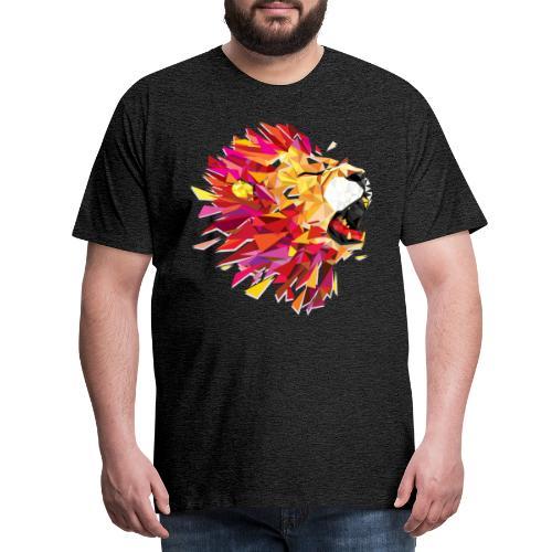 Tête de lion rugissante de couleur - T-shirt Premium Homme