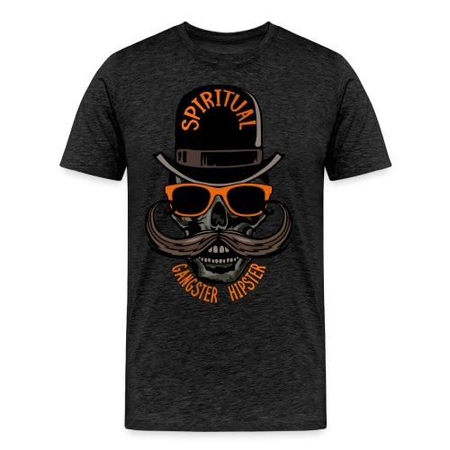 tete de mort hipster crane skull gangster moustach - T-shirt Premium Homme