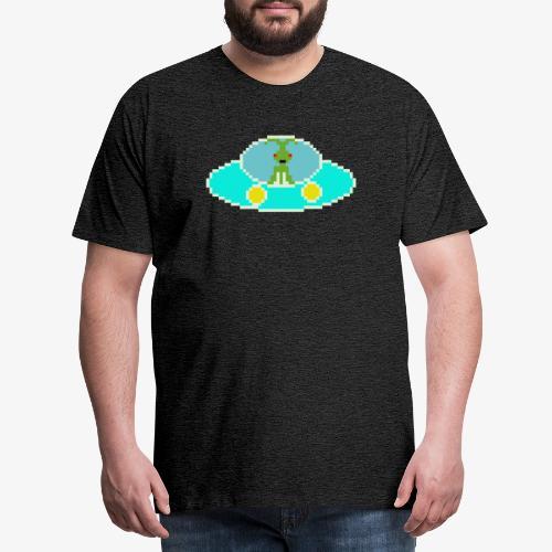 Fliegende Untertasse Pixel Art - Männer Premium T-Shirt