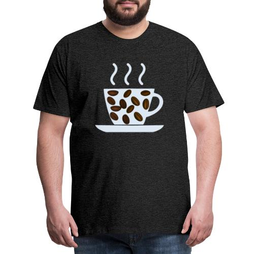 grey cup cofee with beans - Maglietta Premium da uomo