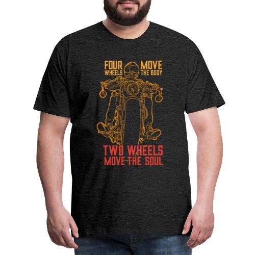 Kaksi pyörää liikuttaa sielua - Miesten premium t-paita