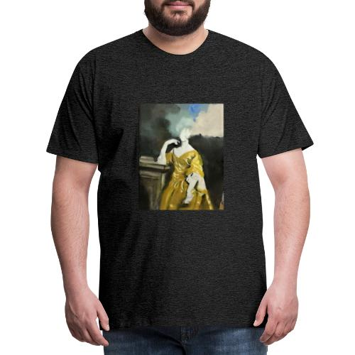 Donna sognatrice, in giallo. Arte da indossare. - Maglietta Premium da uomo