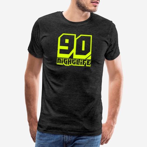 90 Nightlife (logo giallo neon) - Maglietta Premium da uomo