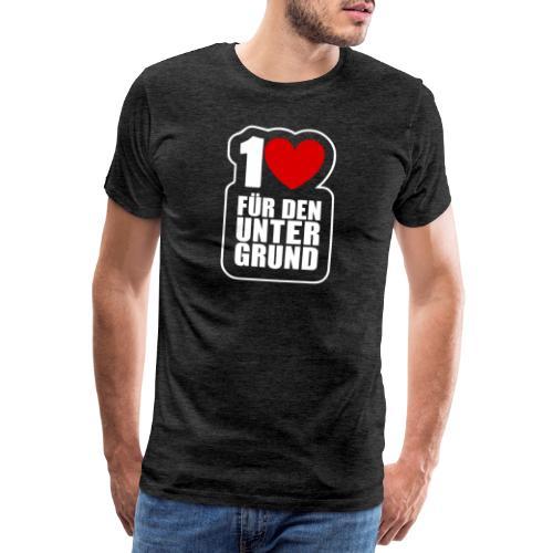 1 Herz für den Untergrund - Logo weiß - Männer Premium T-Shirt