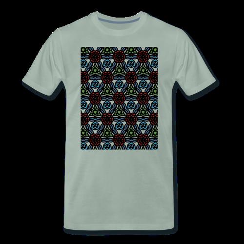 symmetric colourful roses pattern - Men's Premium T-Shirt