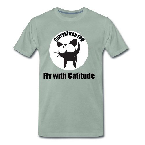 CurryKitten Logo - Fly with Catitude - Men's Premium T-Shirt