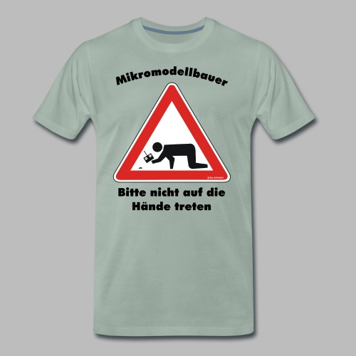 Mikromodell Warnschild Hände - Männer Premium T-Shirt