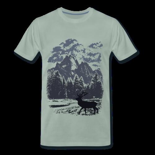 Bergwald und Rothirsch (Blau) - Männer Premium T-Shirt