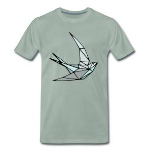 Oiseau (hirondelle) en origami - T-shirt Premium Homme