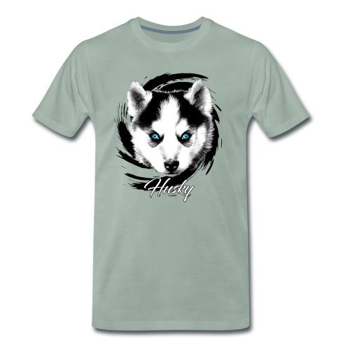 10-48 HUSKY BLUE EYES - DOG TEXTILES GIFTS WEBSHOP - Miesten premium t-paita