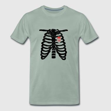 amour coeur squelettique coeur rock motard crâne du crâne - T-shirt Premium Homme