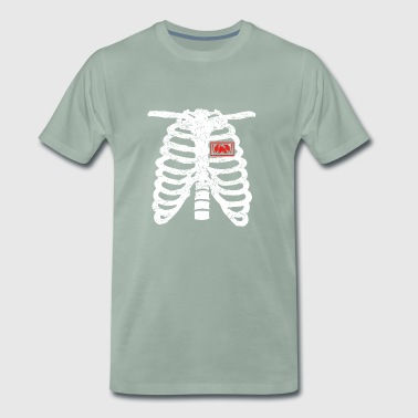 coeur squelettique coeur amour TECHNO DJ ELECTRO .png - T-shirt Premium Homme