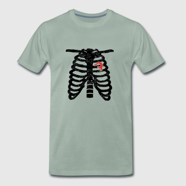 Hjerte skjelett hjerte kjærlighet yoga, meditasjon gymnastikk GES - Premium T-skjorte for menn