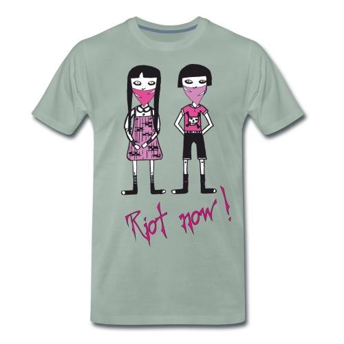 Riot now, Molly und ihr Freund mit Totenkopf Motiv - Männer Premium T-Shirt
