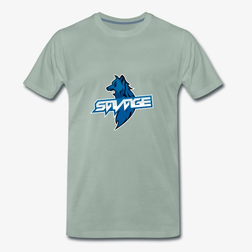 Blue Logo Savage Wolf - Men's Premium T-Shirt
