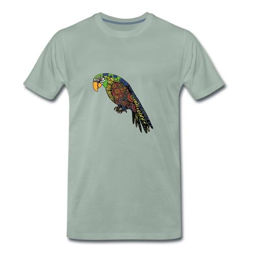 ARA Muster Sitzt Blau Grüner Papagei - Männer Premium T-Shirt