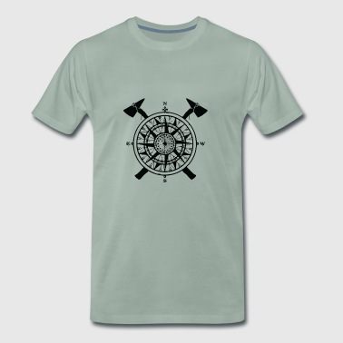 Kompass Tomahawk Axt Vintage alt - Männer Premium T-Shirt