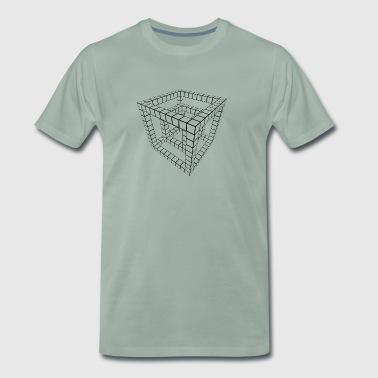 Gitterwürfel schwarz transparent. - Männer Premium T-Shirt
