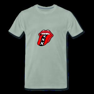 Rock en Roll Mond met een tong en Amsterdam logo - Mannen Premium T-shirt