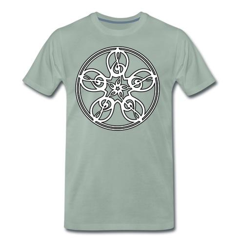 CELTIC CLEF MANDALA (white/black outline) - Men's Premium T-Shirt