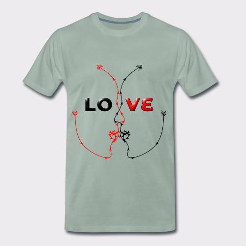 LOVE MINIMALISTIC LineART Valentinstaggeschenke - Männer Premium T-Shirt
