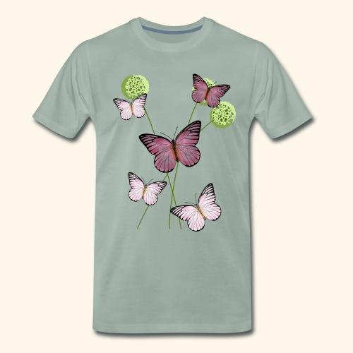 Schmetterlinge, Wiese, Blumen - Männer Premium T-Shirt