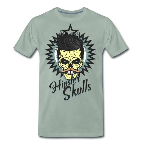 tete de mort hipster skull crane moustache logo co - T-shirt Premium Homme